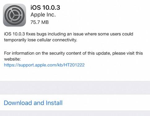 Atualização do iOS para a versão 10 0 3 corrige falha de