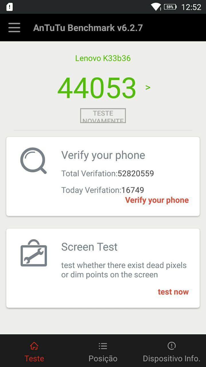 Desempenho do Lenovo Vibe K6 | Teste de velocidade oficial do