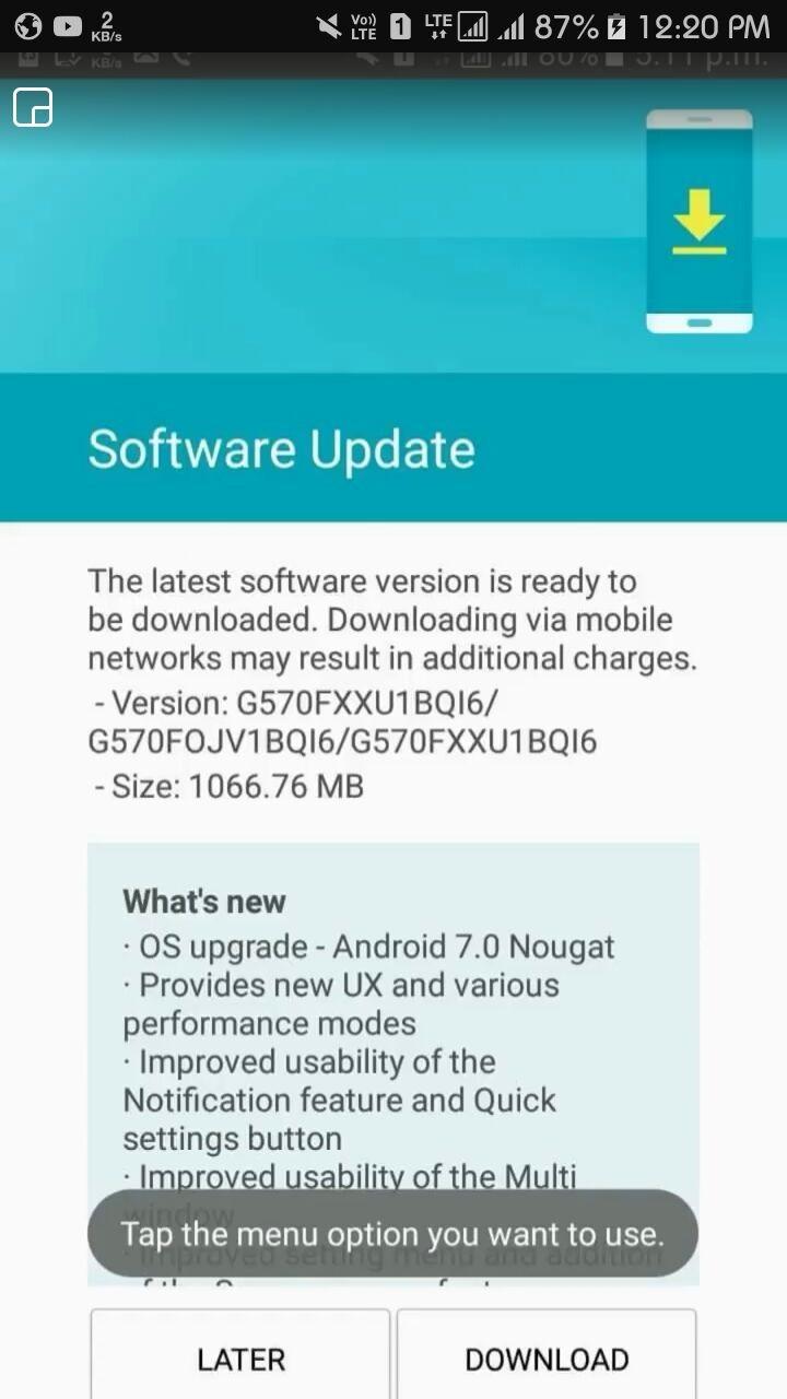 Samsung Galaxy J5 Prime é o novo contemplado com Android Nougat