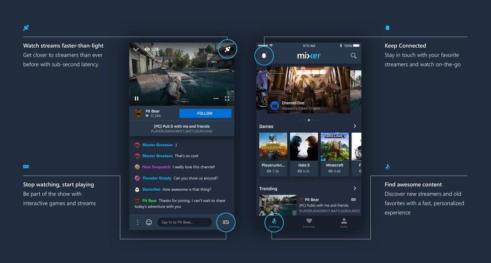 dc9c815cbcd O aplicativo de streaming Mixer ganhou um novo design em sua última  atualização / Imagem: Reprodução
