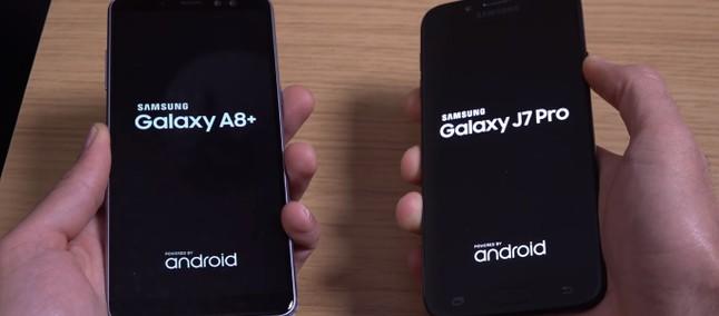 9d1b88f8a Galaxy A8 Plus (2018) vs. Galaxy J7 Pro  intermediários da Samsung duelam  em teste de velocidade