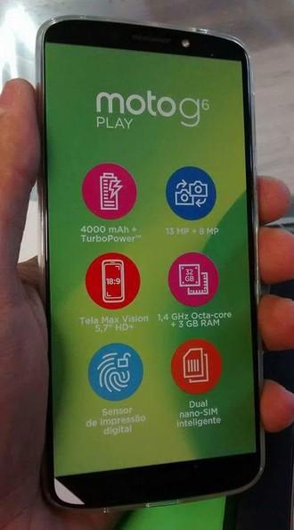 556b4cf9e1 Imagem  Motorola Moto G6 Play em toda a sua glória. Via  Reprodução    Facebook.