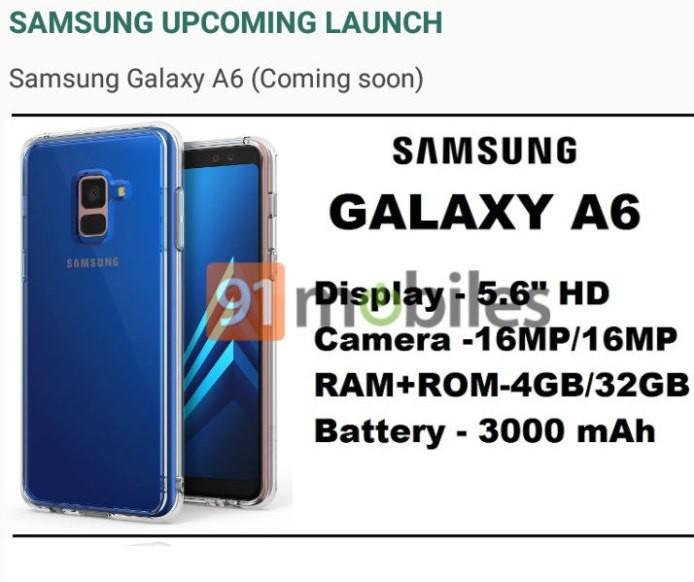 Galaxy A6 tem especificações vazadas