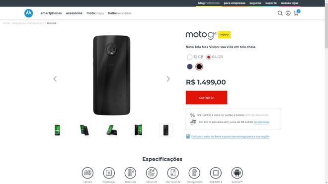 15f709817 Motorola lança nova versão do Moto G6 com mais RAM e armazenamento ...