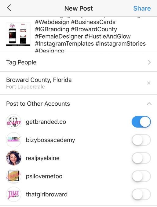 Postagem instantânea em múltiplas contas no Instagram