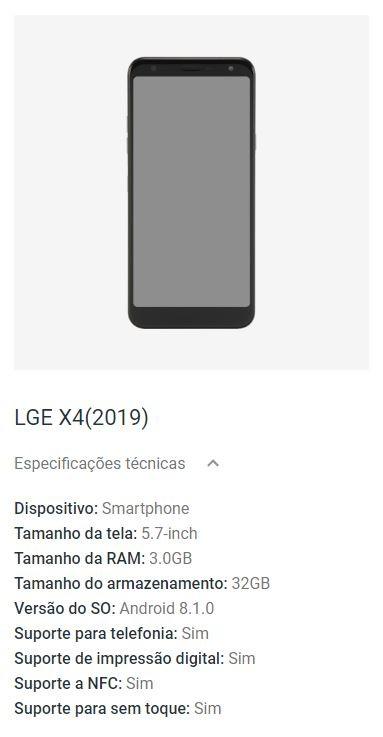 Resultado de imagem para LG X4 2019