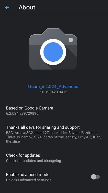 Google Câmera 6 2: mod traz suporte para abertura variável