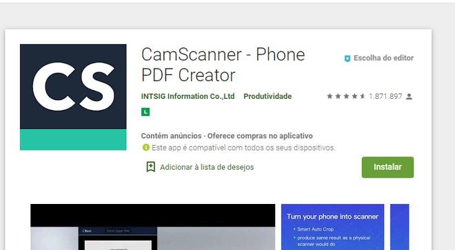CamScanner retorna a Play Store e oferece